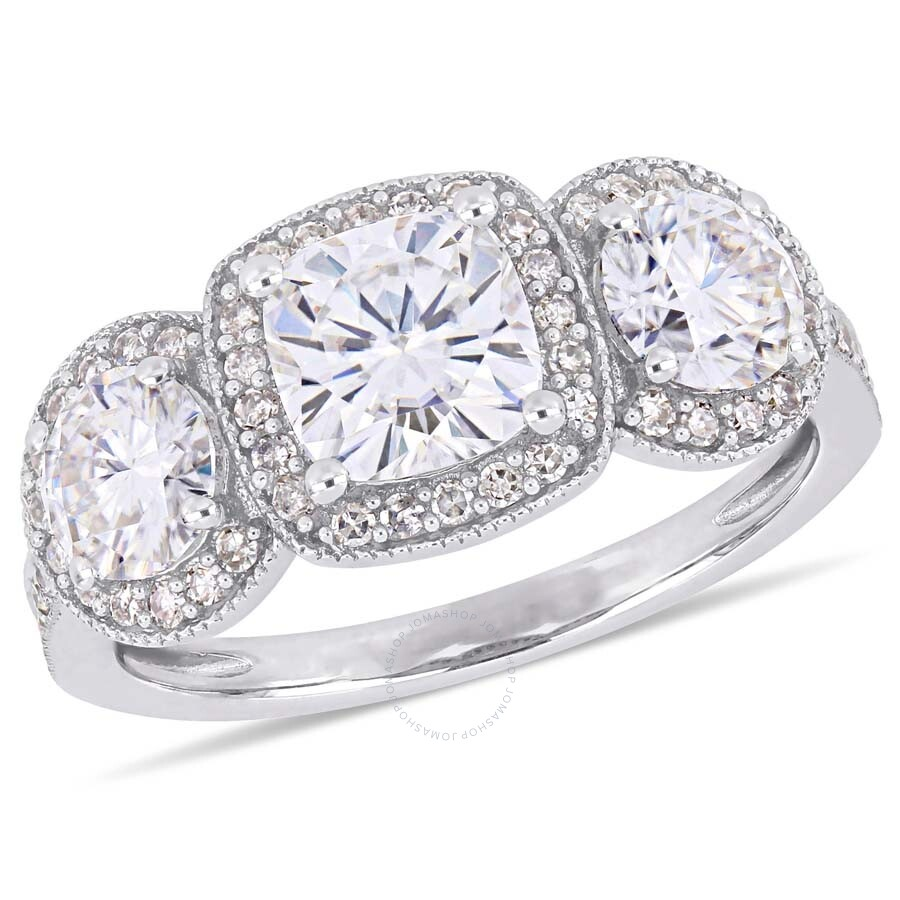 Amour 2 Ct Tgw Cushion Cut Moissanite And 1 3 Ct Tw Diamond 3 Stone Double Halo Engagement Ring In 14k White Gold Jms005041