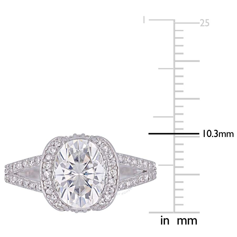 Black Diamond Ring 1 Ct Tw Oval Cut 14k White Gold: Amour 2 CT TGW Oval-Cut Moissanite And 1/4 CT TW Diamond