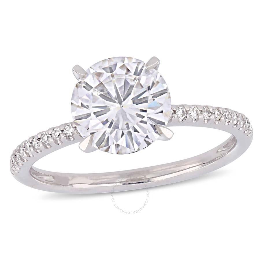 Diamond Ring 1 10 Ct Tw Round Cut 14k White Gold: Amour 2 CT TGW Round-Cut Moissanite-White And 1/10 CT TW