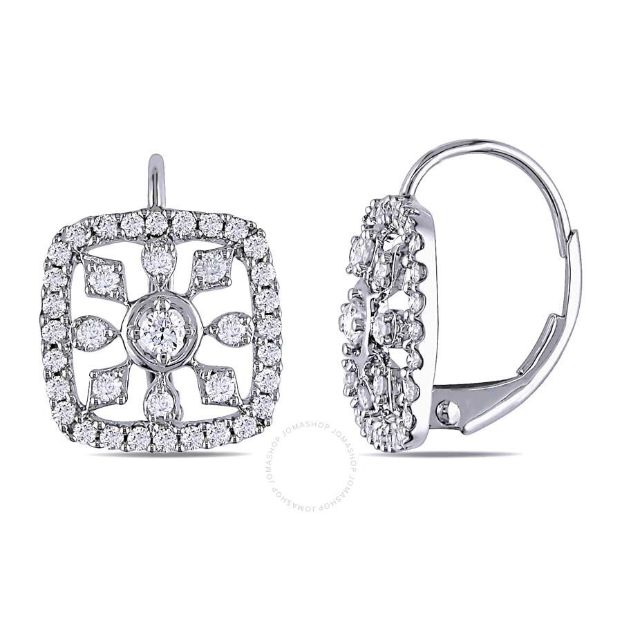 Amour 3 4 Ct Diamond Tw Leverback Earrings 14k White Gold Gh I1 Jms005422