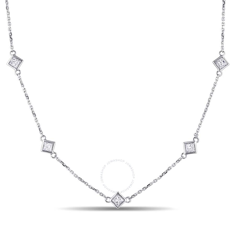 1694215f5e00de Amour 4/5 CT TW Princess CutDiamond Station Necklace in 14k White Gold  JMS005501