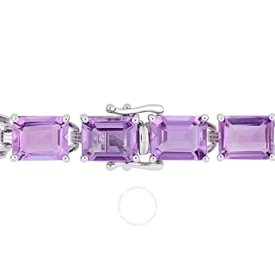 Amour 45 Ct Tgw Emerald Cut Amethyst Tennis Bracelet In