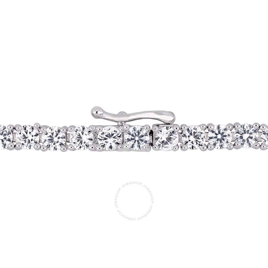 Amour Silver 14 1//4ct TGW White Sapphire 7.25-inch Tennis Bracelet