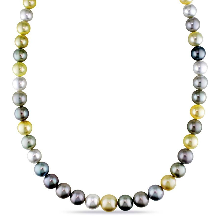 10k white gold natural pearls bead ball strand necklace