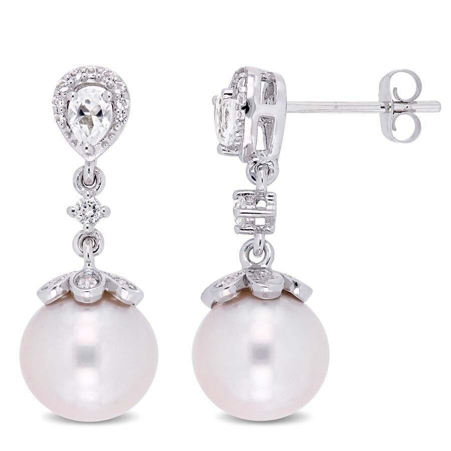 d54fd55ed Amour 9-9.5 MM Cultured Freshwater Pearl and 3/4 CT TGW White Topaz ...