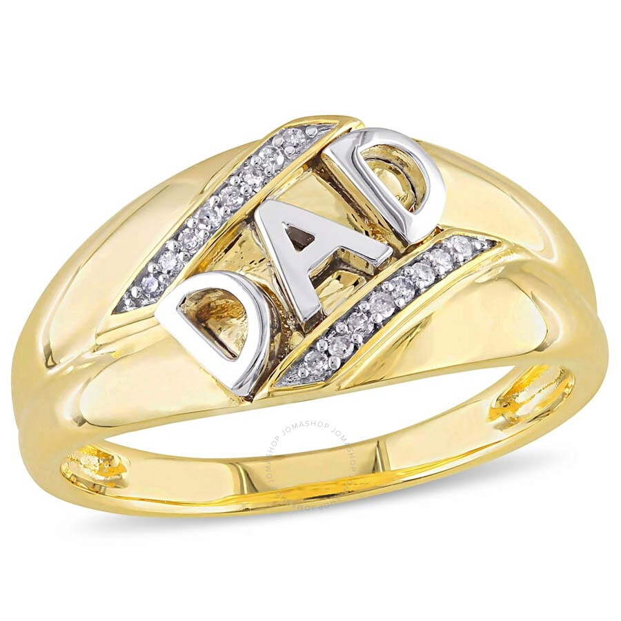 Amour Dad Yellow Gold Diamond Men S Ring Amour Mens Jewelry