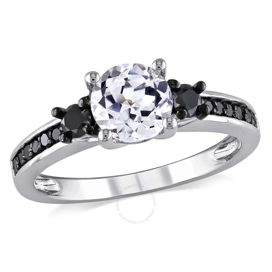 Amour Black Diamond and White Sapphire Engagement Ring Size 6 Amour Lad