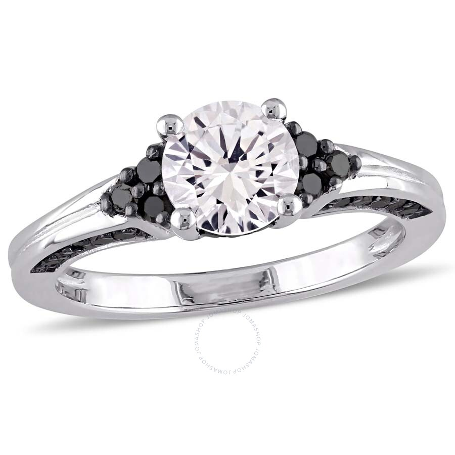 Amour Black Diamond And White Sapphire Engagement Ring
