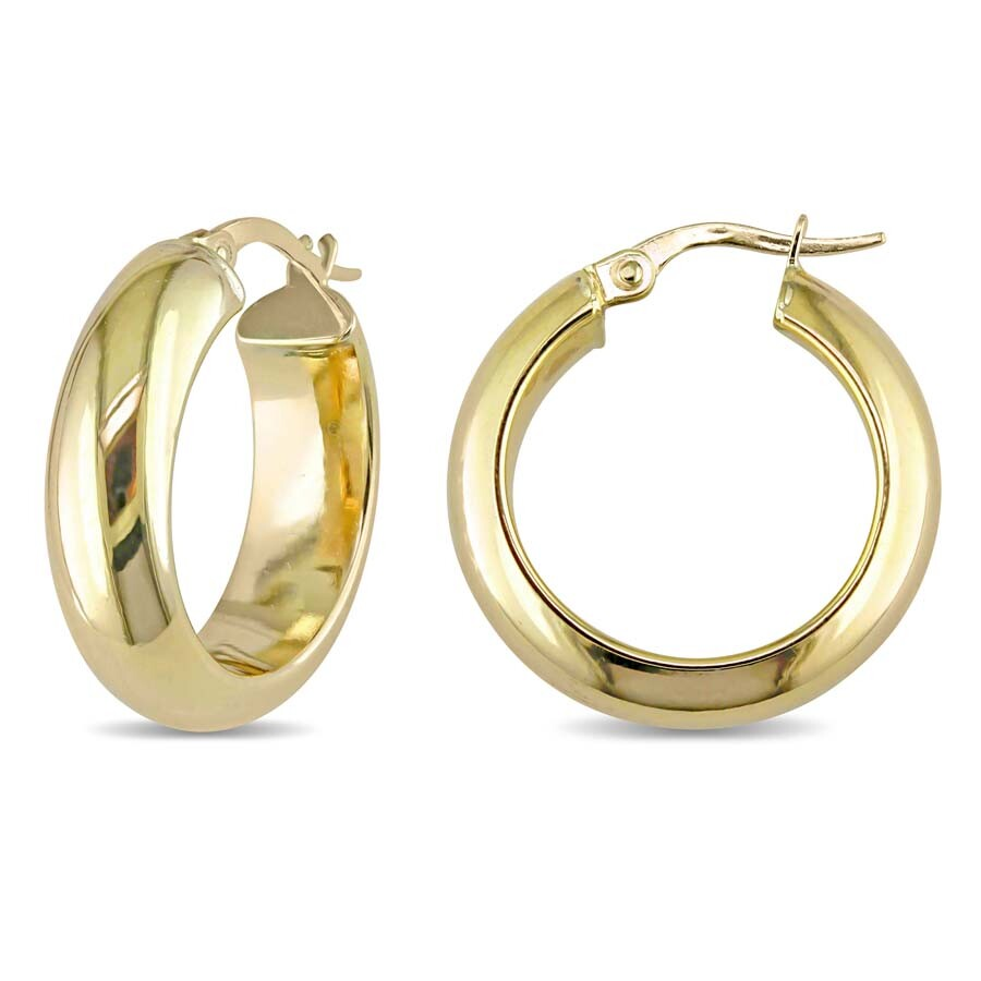 Amour Small Thick Round Shaped Huggie Hoop Earrings In 10k Yellow Gold Jms004909