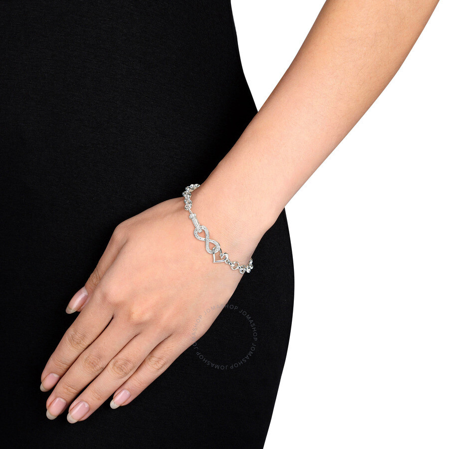Sterling Silver 1/10 CT Diamond TW Link Bracelet with Chain