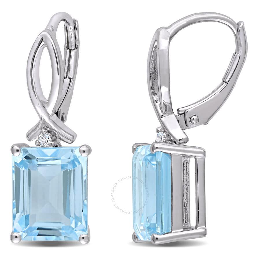 Sky Blue Topaz Dangle Drop Earrings Octagon 925 Sterling Silver Jewelry