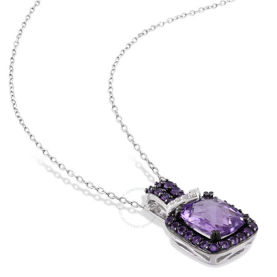 amour sterling silver cushion shape amethyst pendant