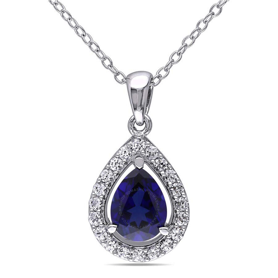 amour sterling silver pear shape blue sapphire