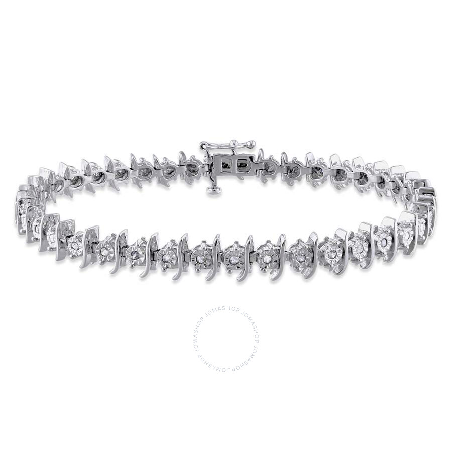 Amour Sterling Silver White Diamond Bracelet Jms003287