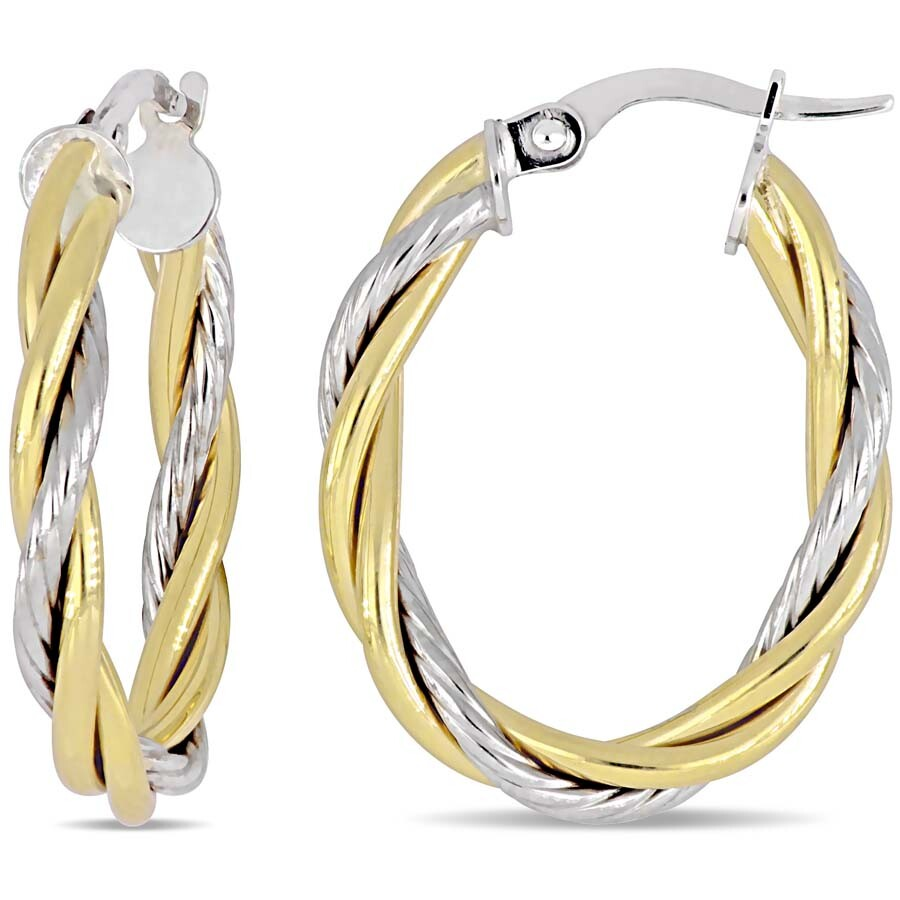bb7134f7bfb34 Amour Twisted Hoop Earrings in 10k White amd Yellow Gold JMS005051