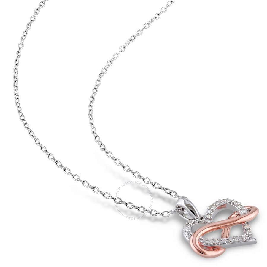 11b66b0233 Diamond Pendant Amour Two Tone Heart Shape Infinity 1/10 CT. Diamond Pendant