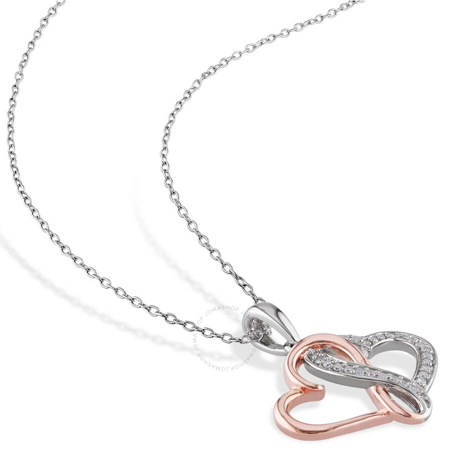 27bde20db2 Amour Two Tone Interlocking Heart 0.14 CT Diamond Pendant - Amour ...