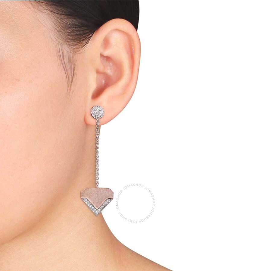 Amour White Sapphire Drop Earrings in 18k Yellow Gold Plated Sterling Silver