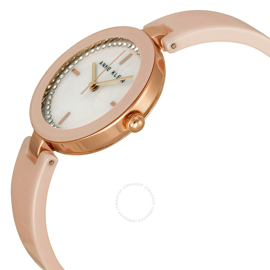 Anne klein mother of pearl crystal set light pink ceramic and rose gold tone ladies watch for Anne klein rose gold watch set