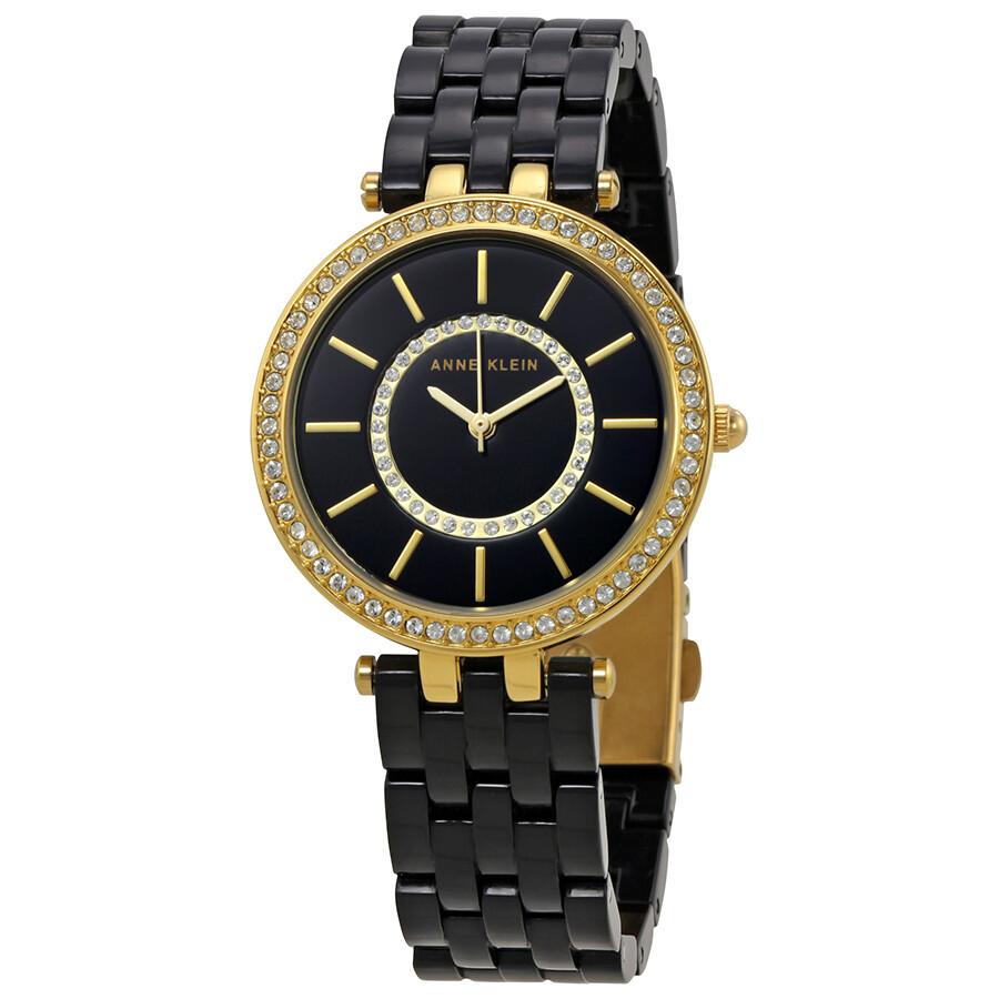 Anne klein black dial ladies resin watch 2620bkgb anne klein watches jomashop for Black resin ladies watch