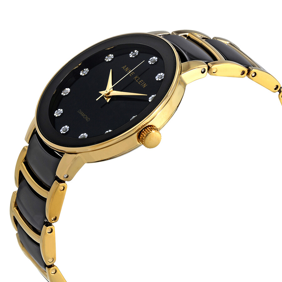 Anne klein black dial diamond ladies watch 2672bkgb anne klein watches jomashop for Diamond dial watch