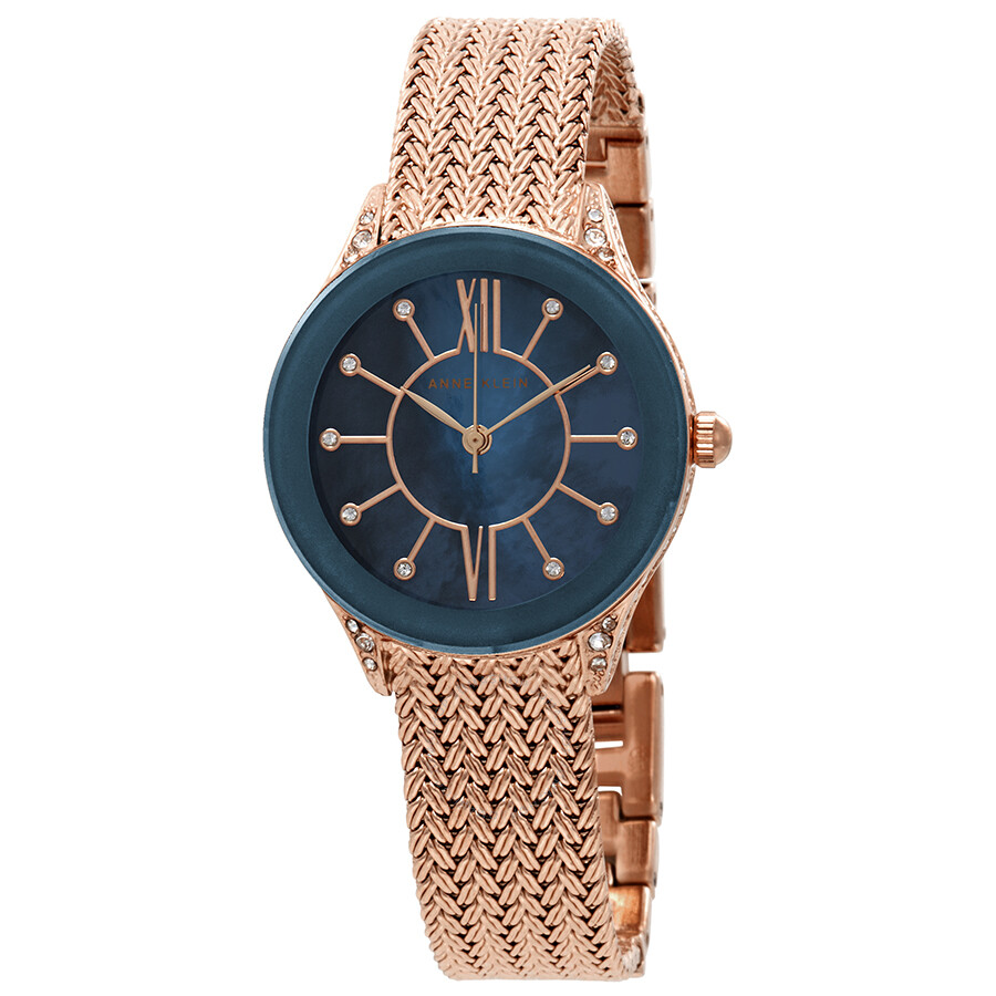 Anne klein crystal ladies rose gold tone mesh watch 2208nmrg anne klein watches jomashop for Anne klein rose gold watch set
