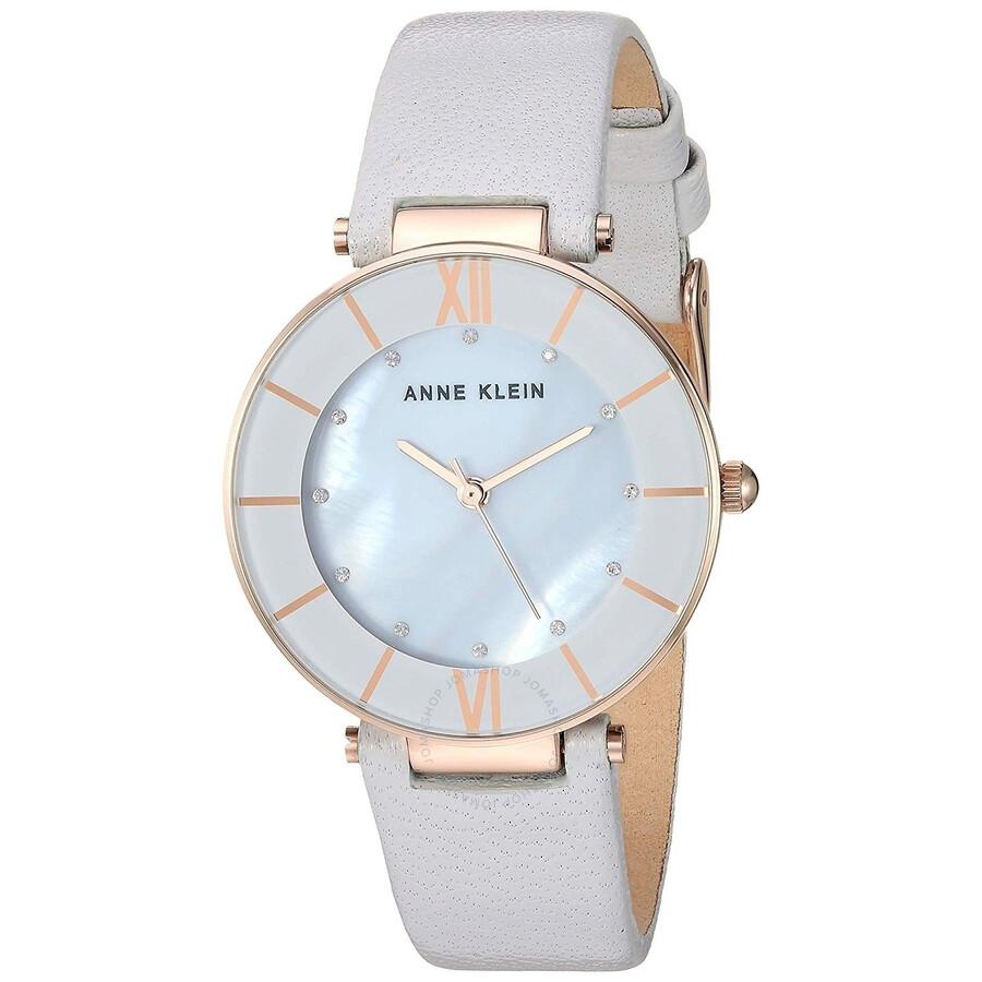 Anne Klein Crystal Light Grey Mother of Pearl Ladies Watch