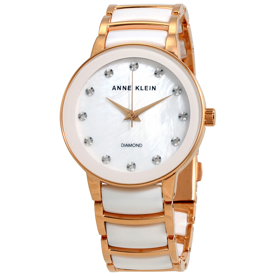 5a99787e0 Anne Klein Diamond White Mother of Pearl Dial Ladies Watch 2672WTRG ...