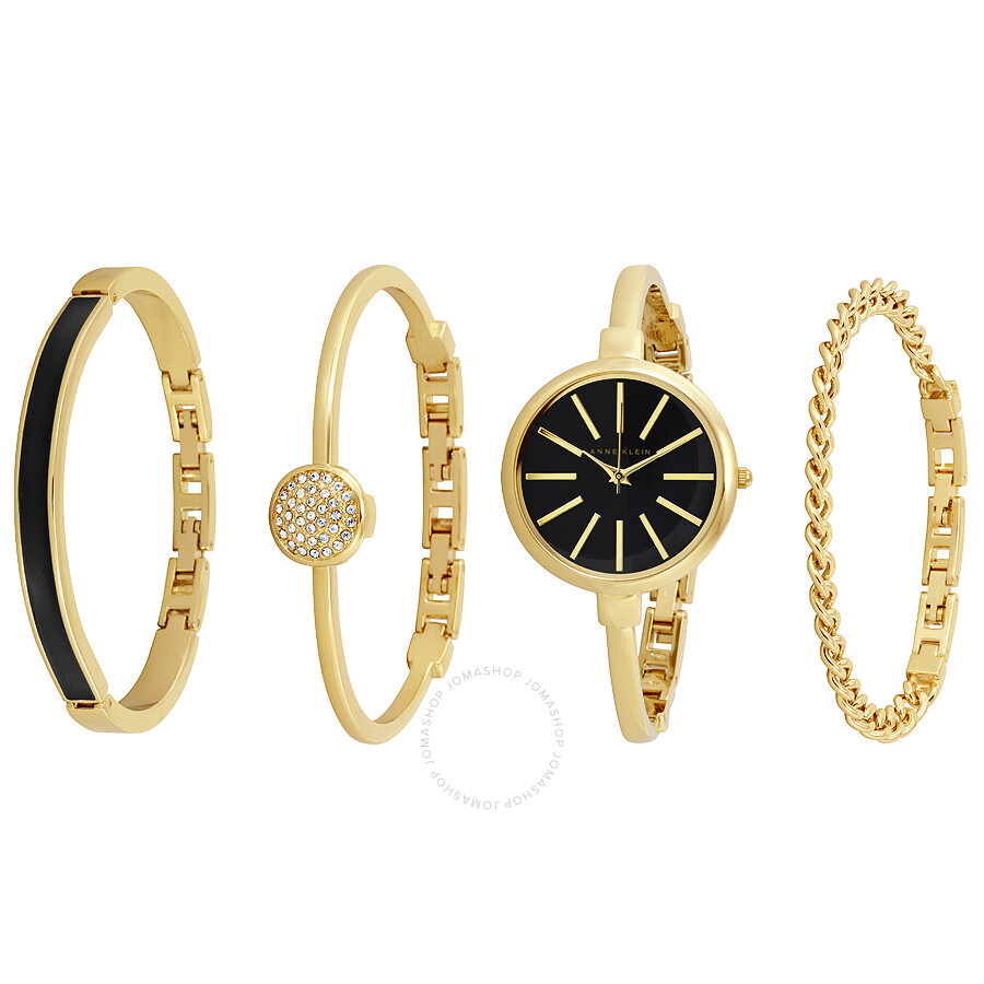 Anne Klein Gold And Black Las Watch Bracelet Set 1470gbst