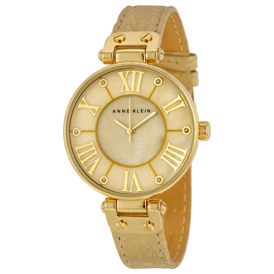 anne klein gold dial beige leather ladies watch 1012gmgd anne klein watches jomashop