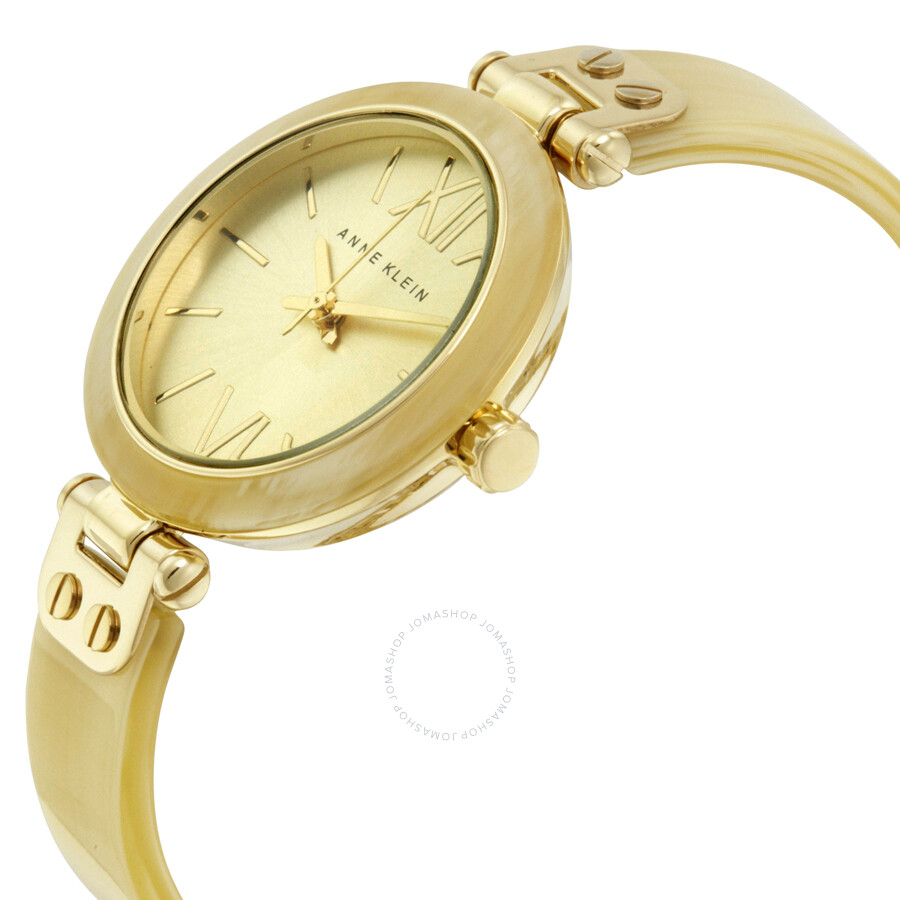 Anne klein gold dial gold tone horn bangle ladies watch 10 9652chhn anne klein watches for Ladies bangle watch