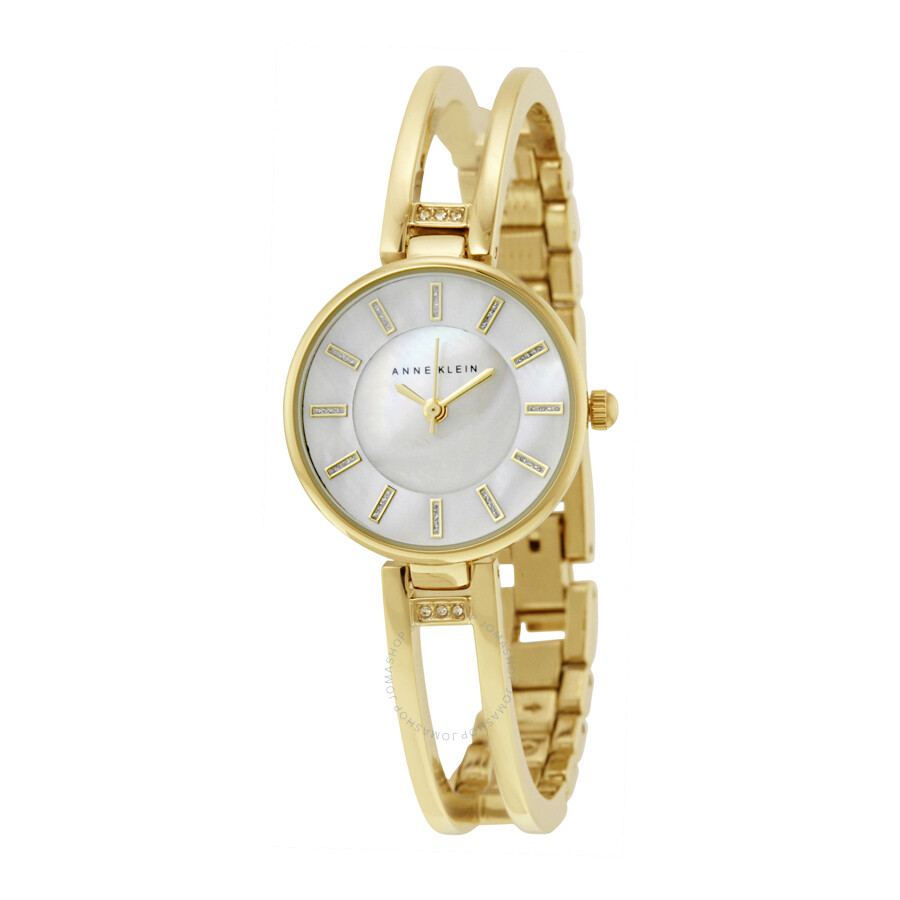 Anne klein mother of pearl dial gold tone bangle ladies watch 2236gbst anne klein watches for Anne klein gold watch