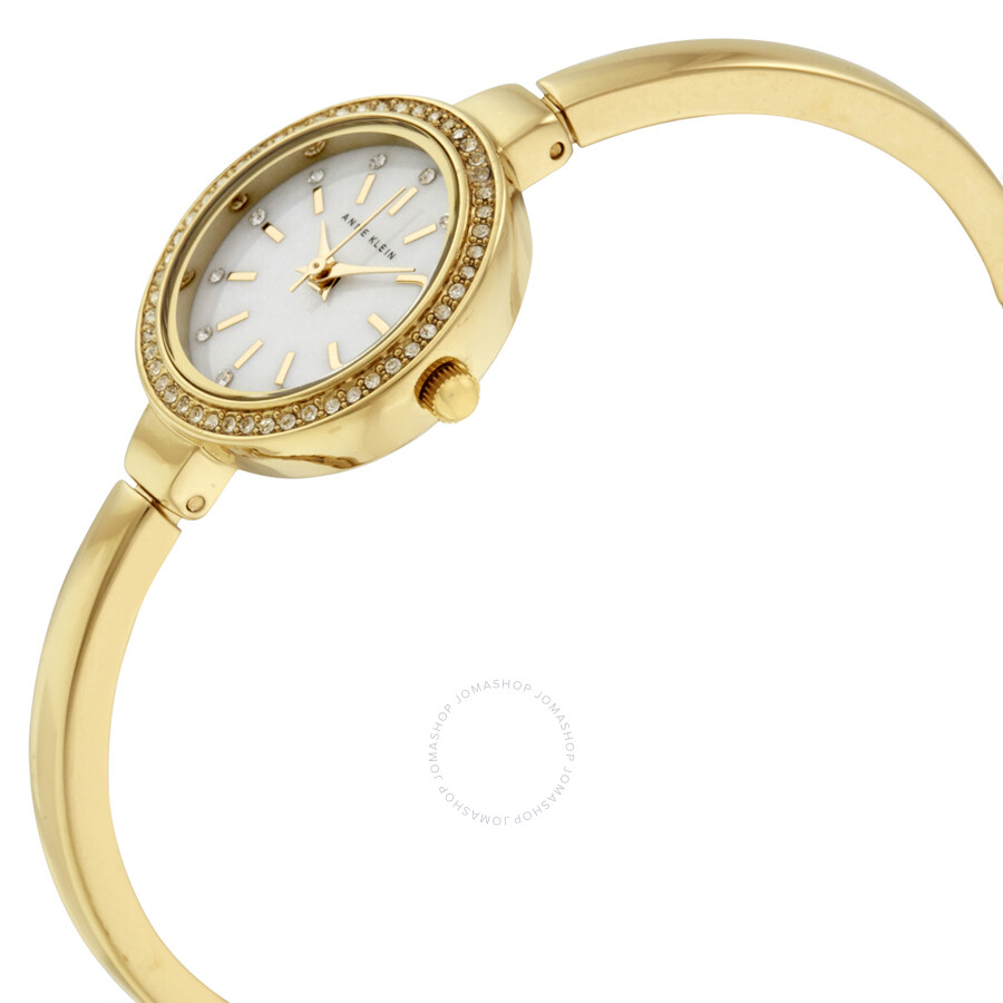Anne klein mother of pearl dial gold tone bangle ladies watch 2240gbst anne klein watches for Ladies bangle watch
