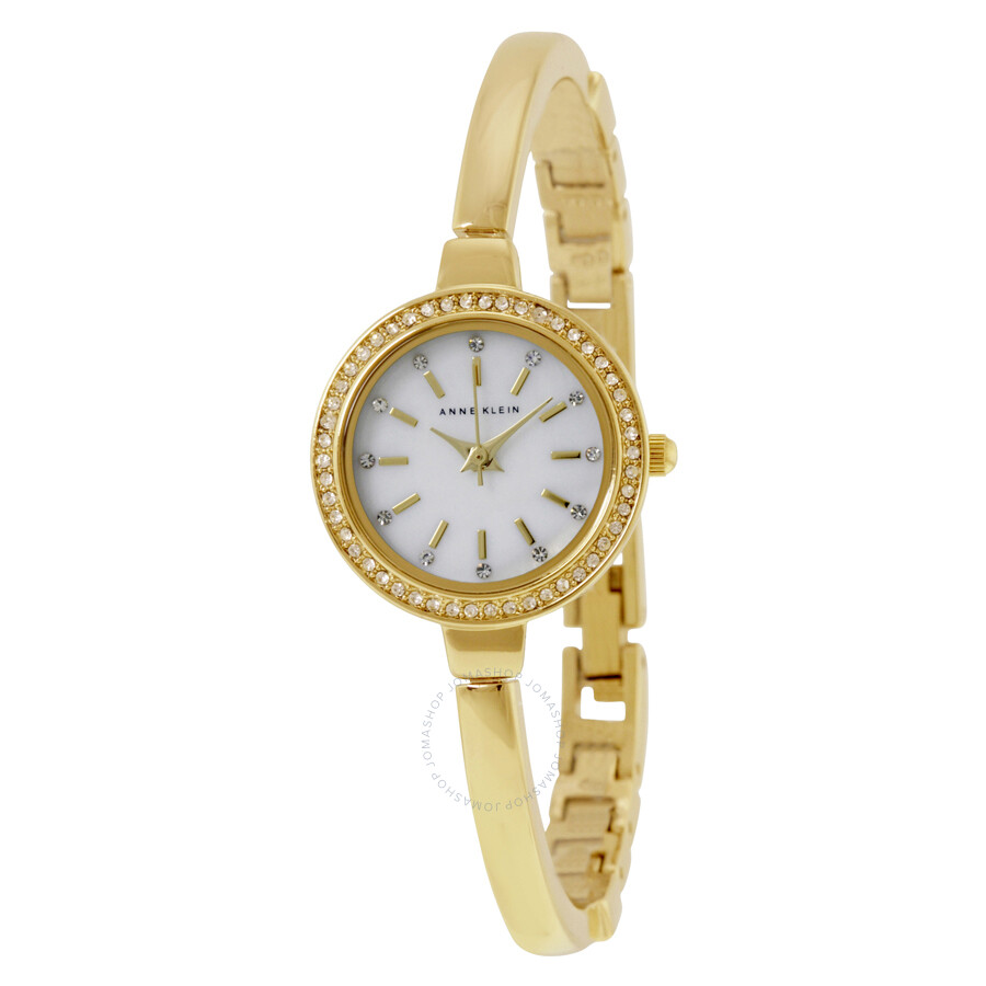 Anne klein mother of pearl dial gold tone bangle ladies watch 2240gbst anne klein watches for Anne klein gold watch