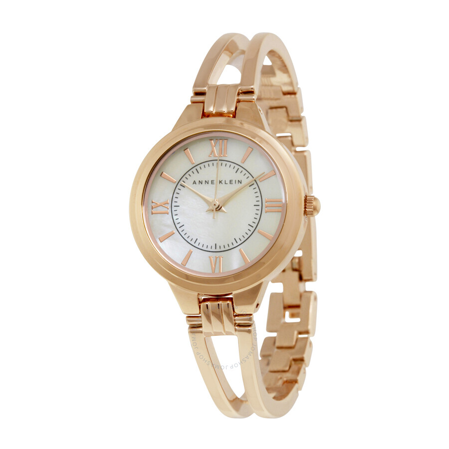 Anne klein mother of pearl dial rose gold bangle ladies watch 1440rmrg anne klein watches for Anne klein rose gold watch set