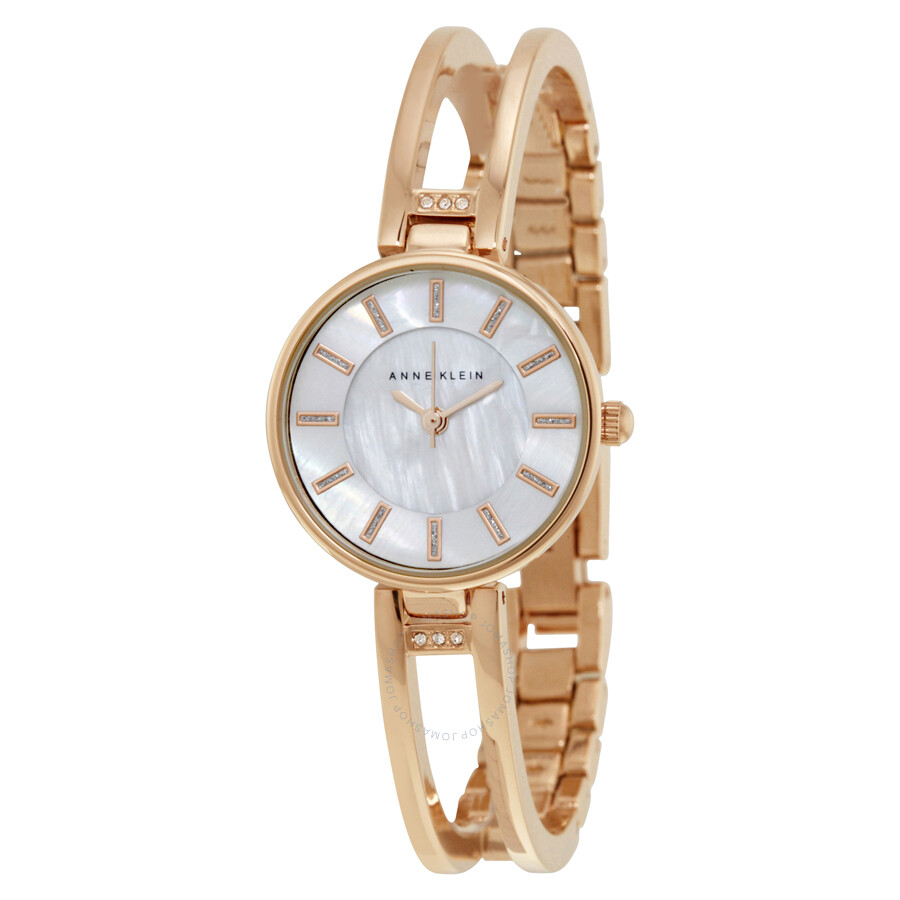 Anne klein mother of pearl dial rose gold bangle ladies watch 2236rgst anne klein watches for Anne klein gold watch
