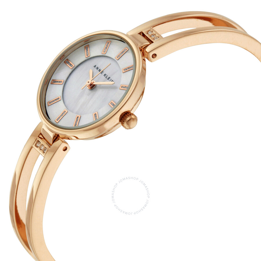 Anne klein mother of pearl dial rose gold bangle ladies watch 2236rgst anne klein watches for Ladies bangle watch