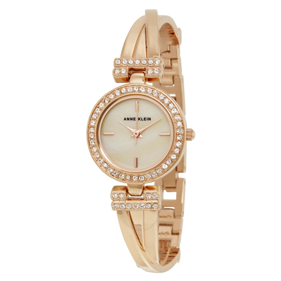 Anne klein mother of pearl dial rose gold bangle ladies watch set 2238rgst anne klein for Anne klein rose gold watch set