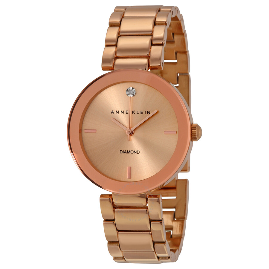 Anne klein rose dial rose gold tone ladies watch 1362rgrg anne klein watches jomashop for Anne klein rose gold watch set