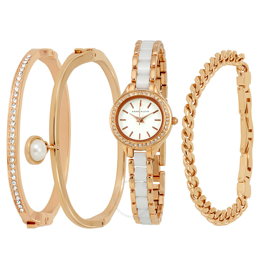 Anne klein rose gold white dial ladies watch and bracelet set 1954rwst anne klein watches for Anne klein rose gold watch set