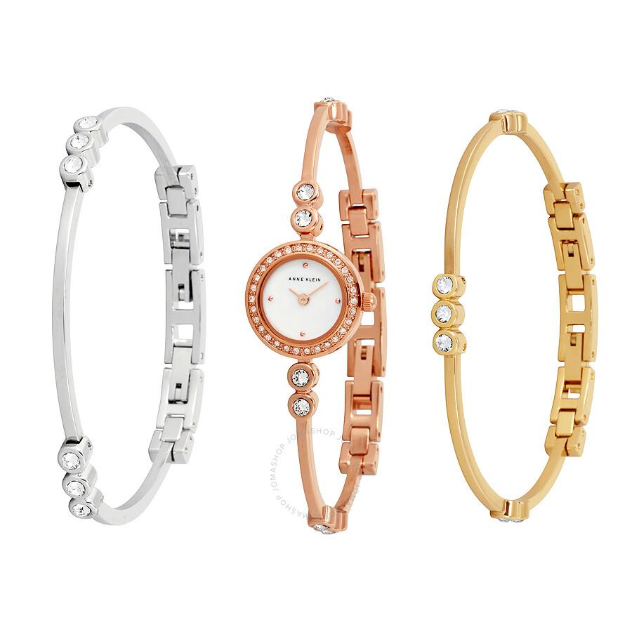 Anne Klein Swarovski Crystal Accented Rose Gold Tone Bangle Watch And Bracelet Set 1690trst