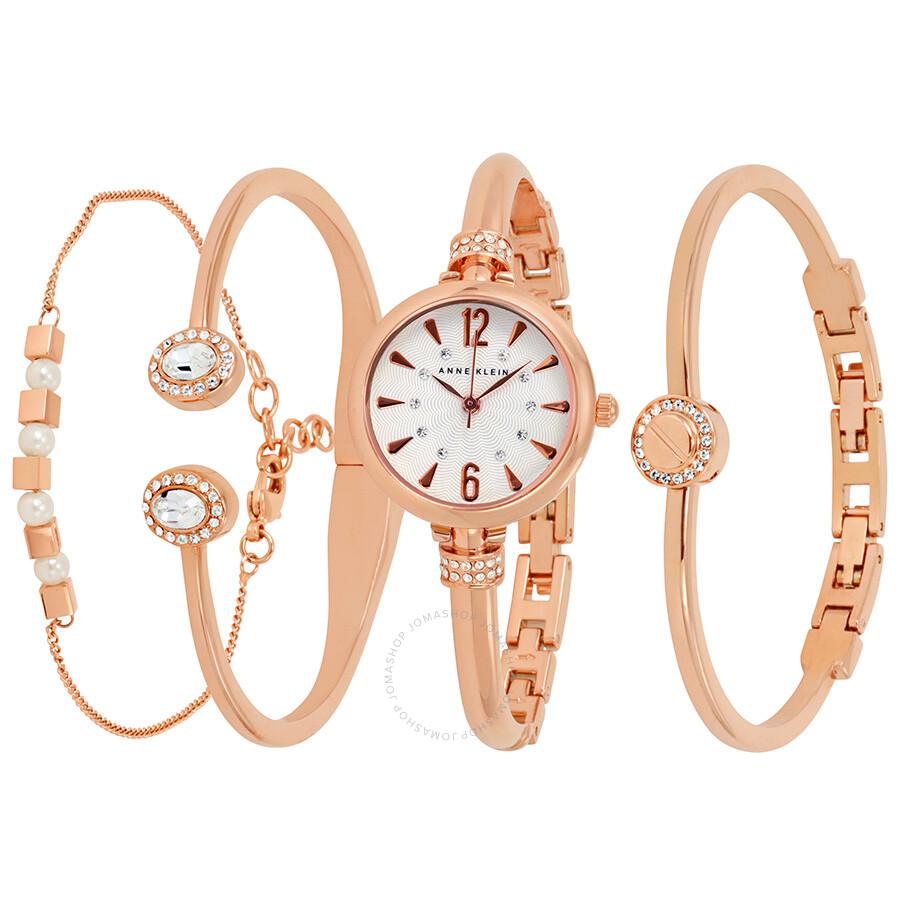 Anne Klein White Dial Las Watch And Bracelet Set 2338rgst