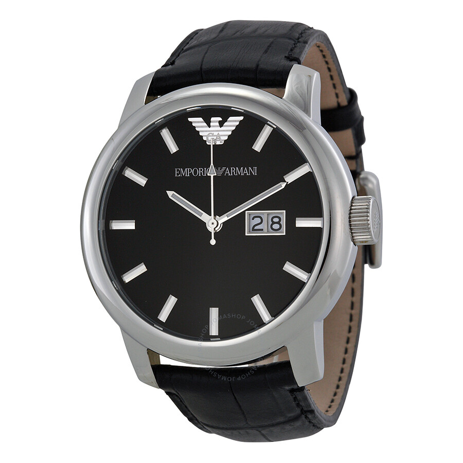 8800ce9a7b0 Emporio Armani Black Dial Stainless Steel Black Leather Strap Men s Watch  AR0428 ...