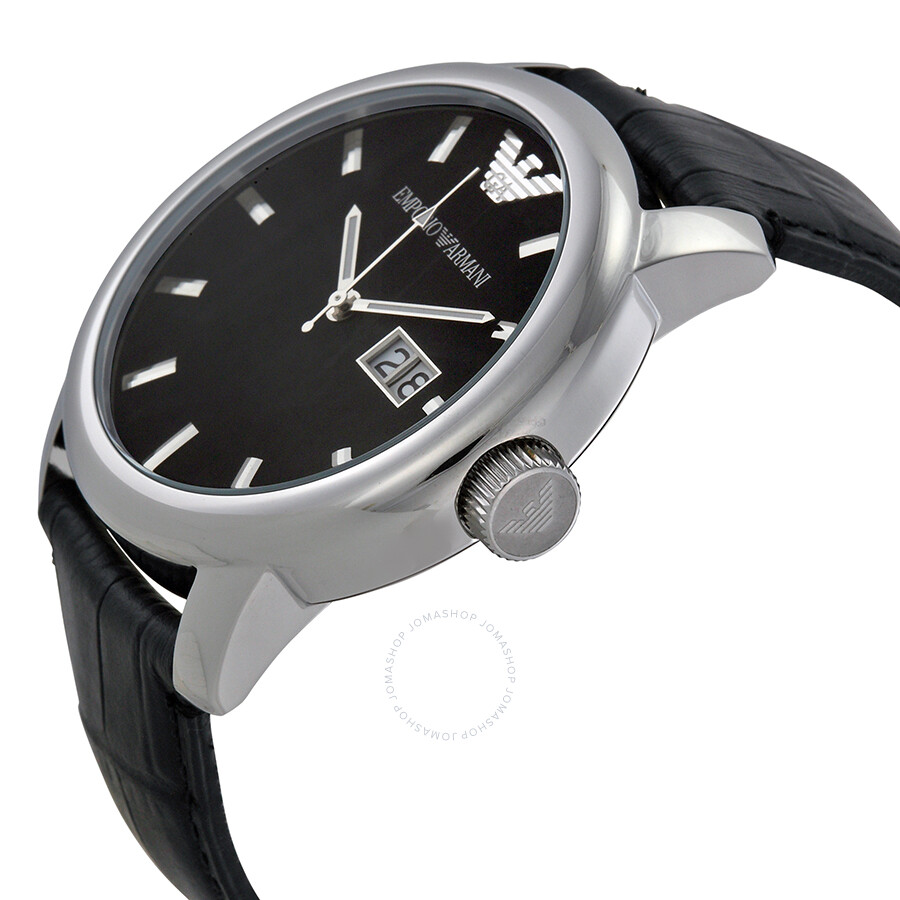 1cab3440504 ... Emporio Armani Black Dial Stainless Steel Black Leather Strap Men s  Watch AR0428 ...