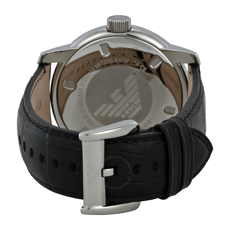 bfd018b2c37 ... Emporio Armani Black Dial Stainless Steel Black Leather Strap Men s  Watch AR0428