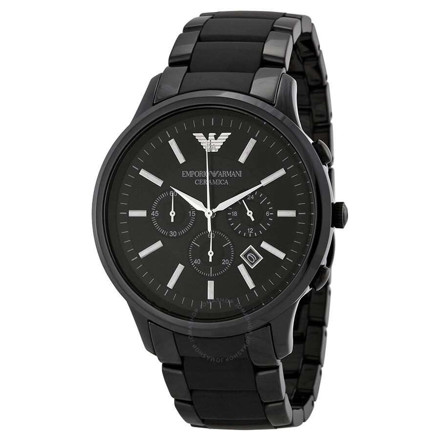 Emporio armani ceramica chronograph black dial men 39 s watch ar1451 emporio armani watches for Ceramica chronograph