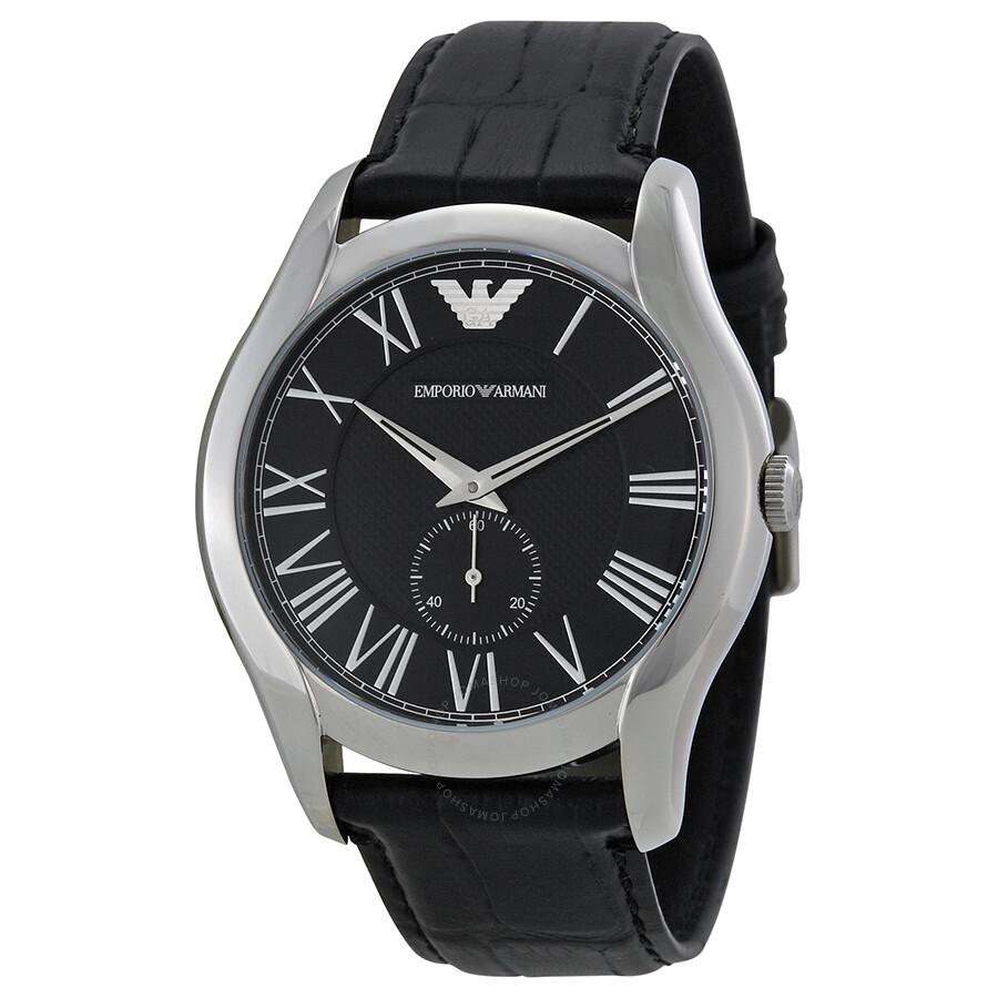 Emporio armani classic black dial black leather strap men 39 s watch ar1703 emporio armani for Black leather strap men