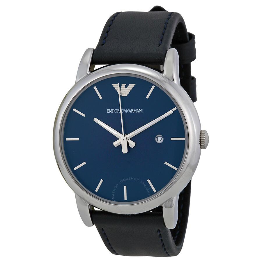 e4a01737a8 Emporio Armani Classic Blue Dial Black Leather Men's Watch AR1731