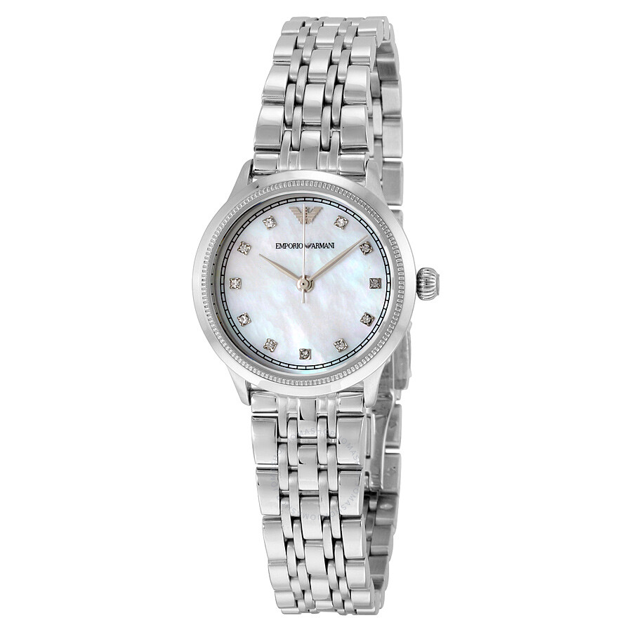 Emporio armani classic mother of pearl dial ladies watch ar1803 emporio armani watches for Mother of pearl dial watch