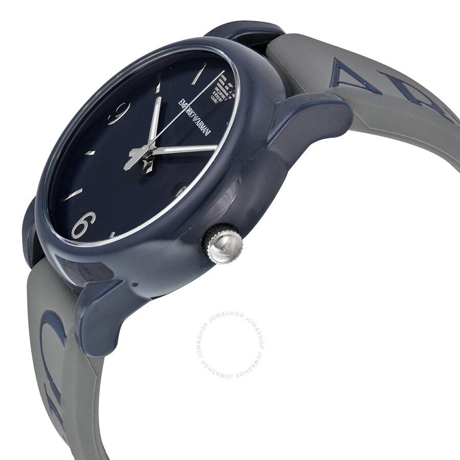 Emporio Armani Classic Navy Blue Dial Grey Silicone Men's Watch AR1065